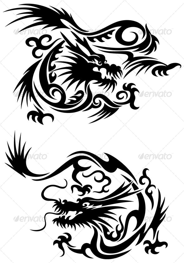 Tribal dragons - Tattoos Vectors