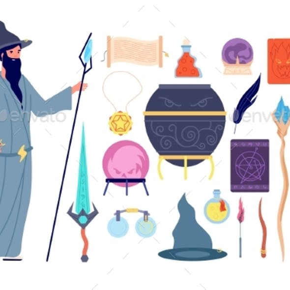 Magic Tools. Magical Alchemy Book, Wizard