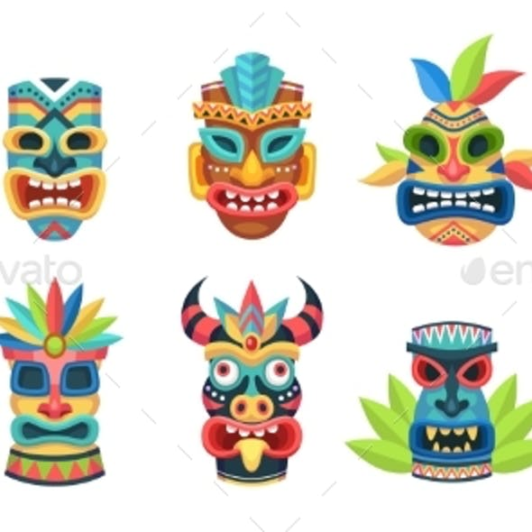 Ethnic Masks. Ritual, Ceremonial Tribal Mexican