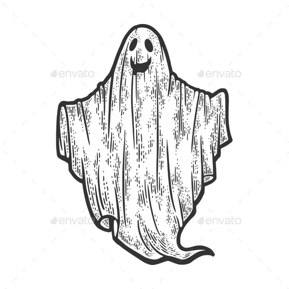 Sheet Ghost Sketch Vector Illustration - Objects Vectors