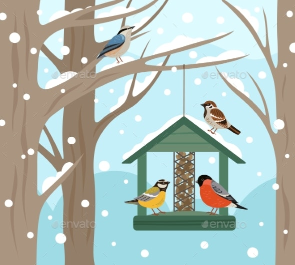 Winter Feeder. Snow Woodland, Birds Food on Tree - Animals Characters