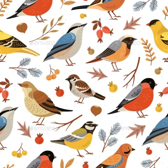 Forest Winter Birds Pattern. Forest Animal