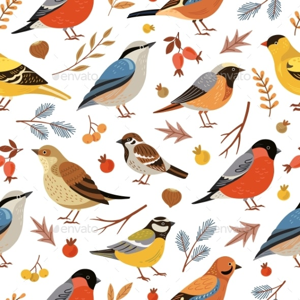 Forest Winter Birds Pattern. Forest Animal - Animals Characters