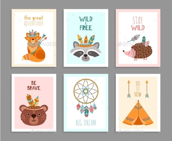 Be Brave Posters. Woodland Wild Animals, Tribal - Objects Vectors