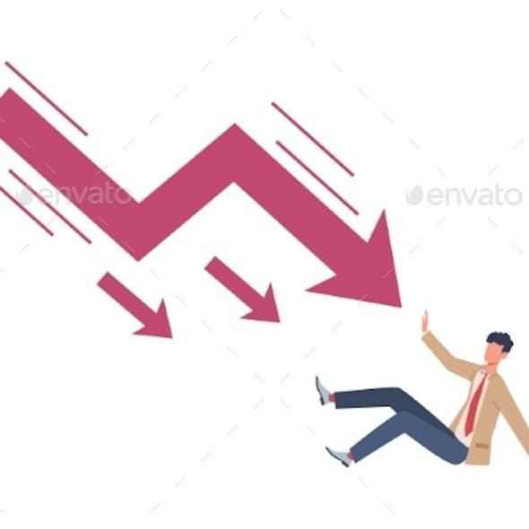 Man Try Stopping Falling Arrow. Unpaid Loan Debt