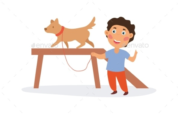 Happy Boy Training His Dog. - Animals Characters
