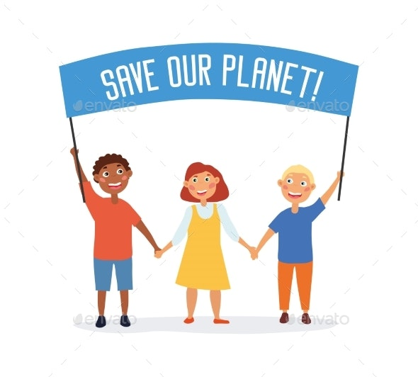 Save Our Planet Concept - Objects Vectors