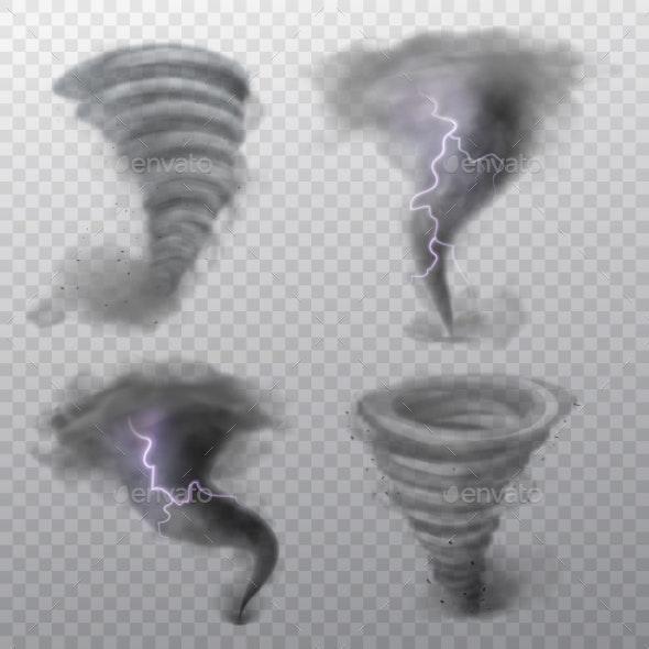 Tornado. Hurricane Vortex with Lightning, Twister - Objects Vectors