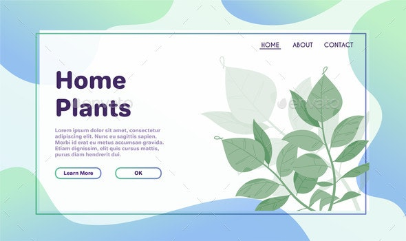 Green Plants. Template of Web Banner. Vector - Flowers & Plants Nature