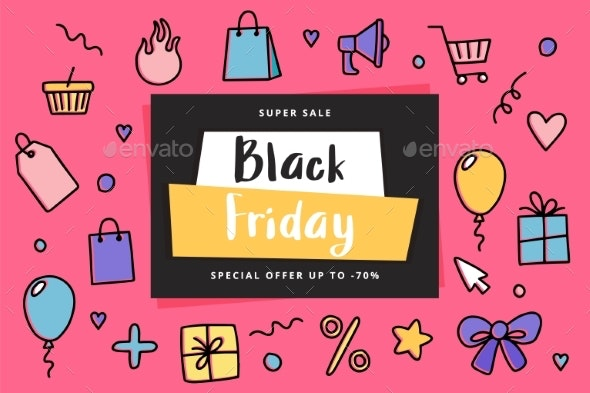 Black Friday Banner Template with Doodle Elements - Backgrounds Decorative