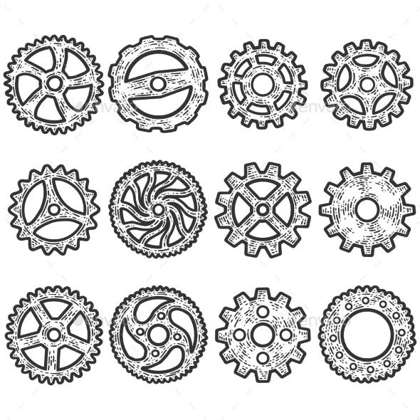 Set of Gears, Mechanism. Sketch Scratch Board - Technology Conceptual