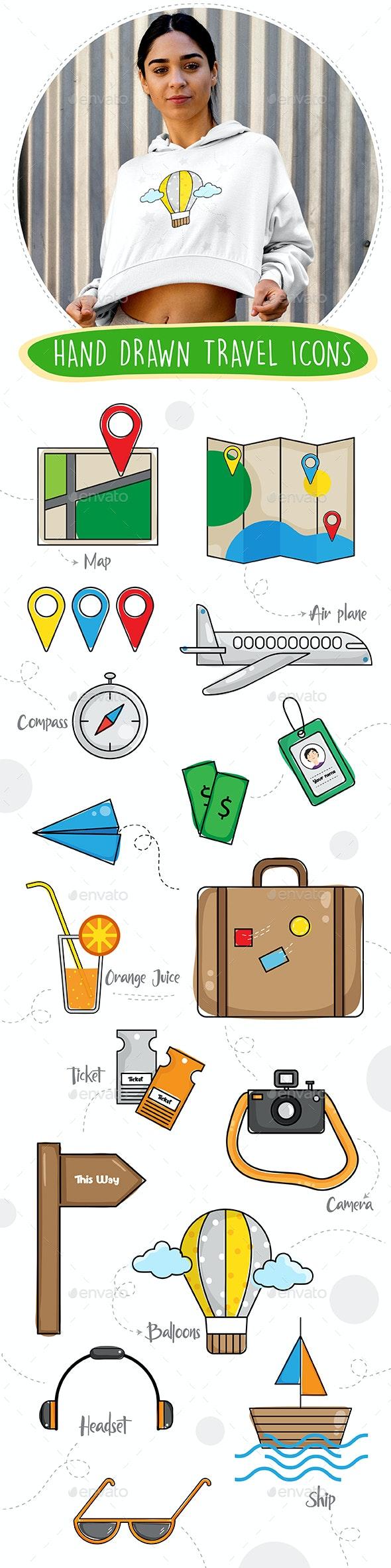 Hand Drawn Travel Icons - Travel Conceptual
