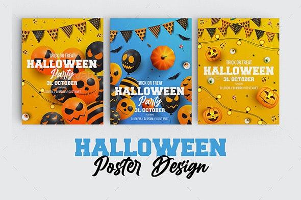 Happy Halloween Party Poster - Vectors