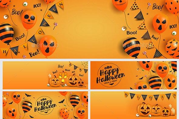 Happy Halloween Banner template - Vectors