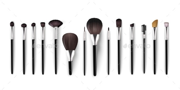 Realistic Cosmetics Brush for Makeup Isolated - Miscellaneous Vectors