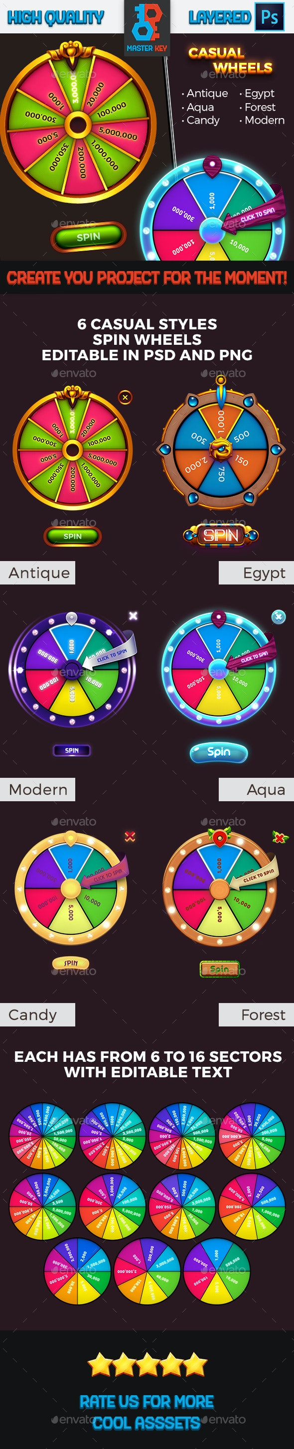 Game Casual Spin Wheels Pack - Miscellaneous Game Assets