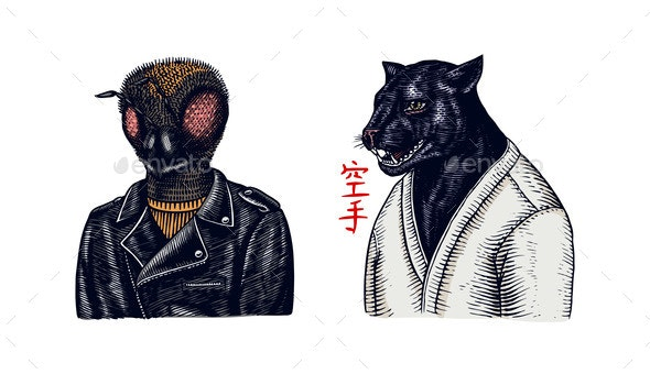 Black Panther Wrestler or Cat Fighter and Bee - Animals Characters