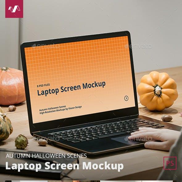 Laptop Mockup Autumn Halloween Scenes