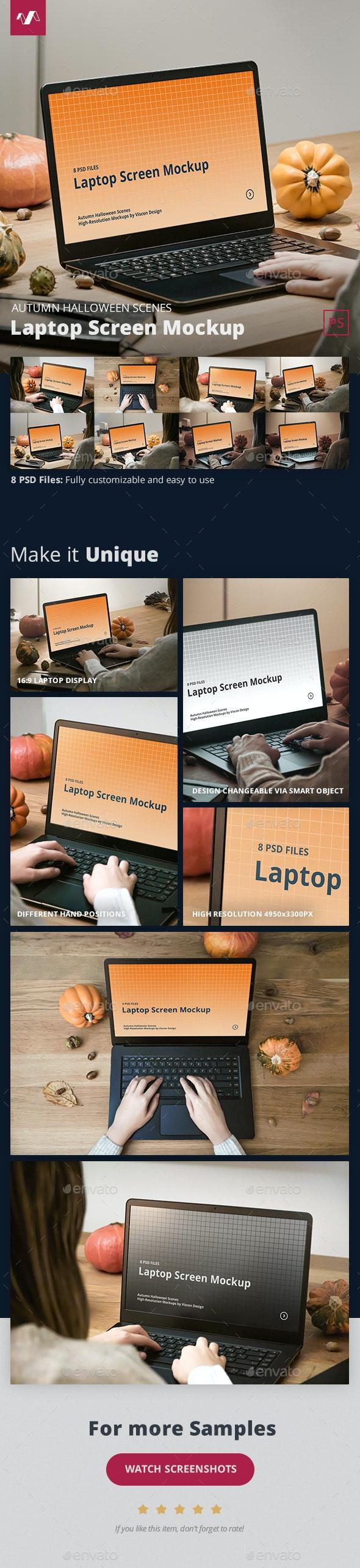 Laptop Mockup Autumn Halloween Scenes - Laptop Displays