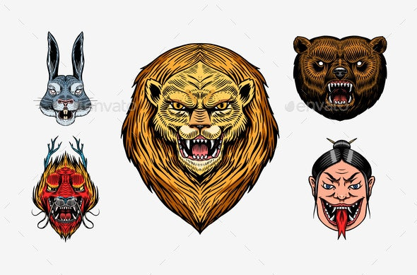 Grizzly Bear, Lion and Hare. Screaming Mad Leo and - Animals Characters