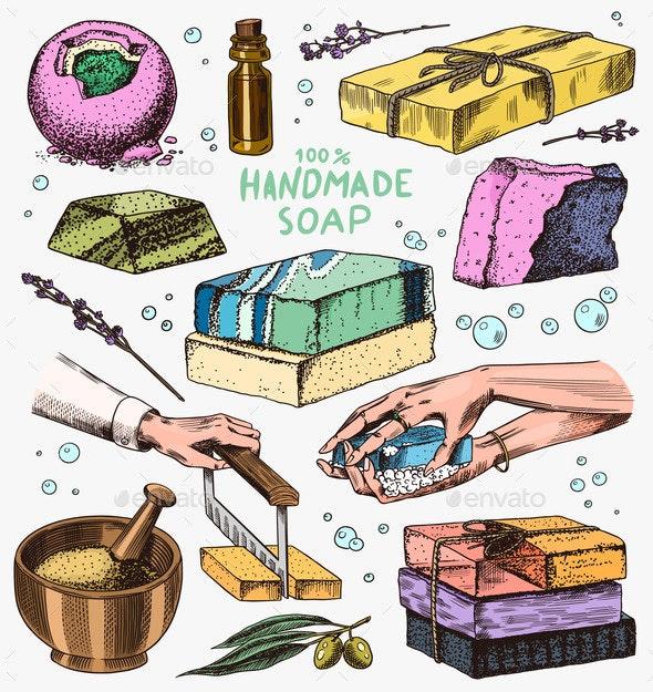 Bubble Bath Soap Set. Washing Hands in Vintage - Miscellaneous Vectors