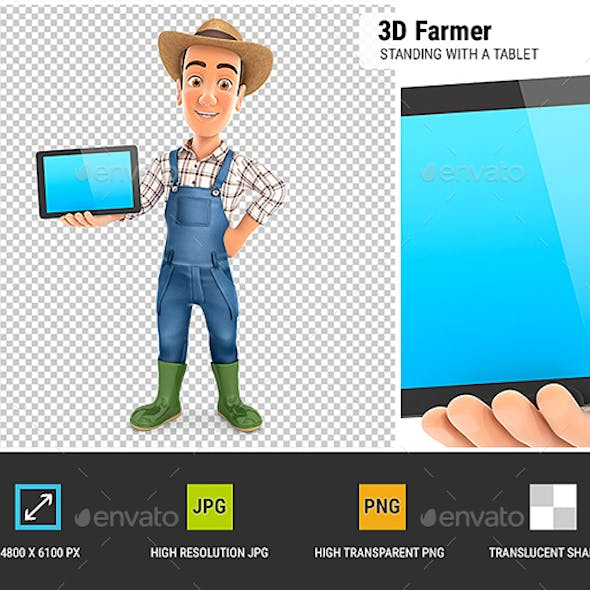 3D Farmer Standing with a Tablet