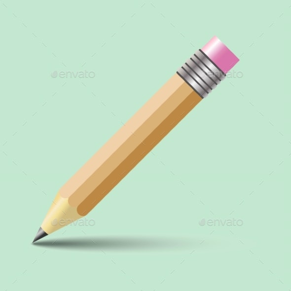 Vector Pencil with Rubber Band on Top. Isolated on - Miscellaneous Vectors