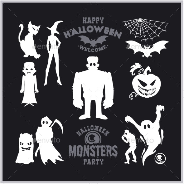 Set of Monsters for Halloween. A Collection of - Miscellaneous Vectors