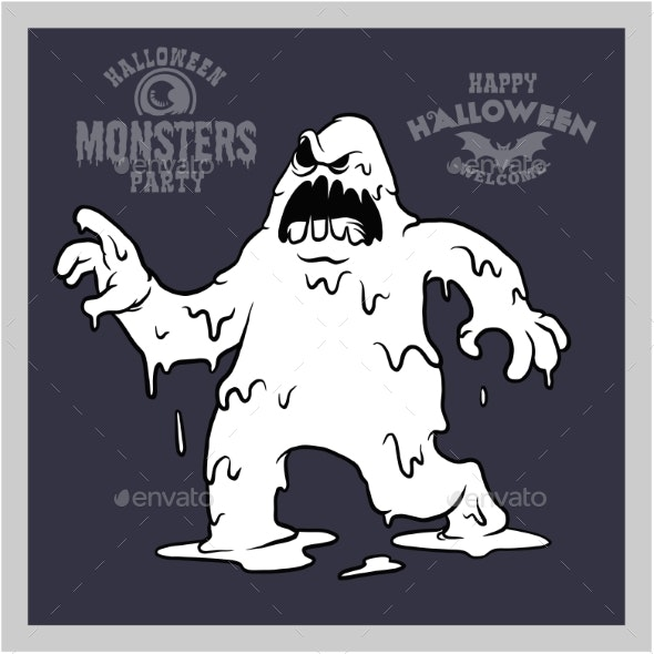 Cartoon Monster for Halloween. Black and White - Miscellaneous Vectors
