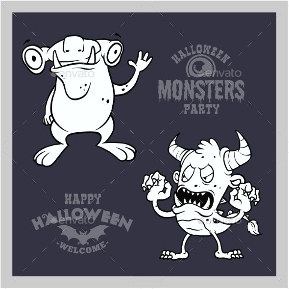 Set of Cartoon Monsters for Halloween. A - Miscellaneous Vectors