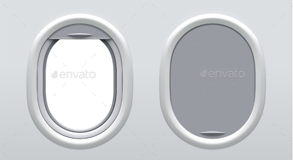 Set of Vector Realistic Airplane Windows. - Man-made Objects Objects