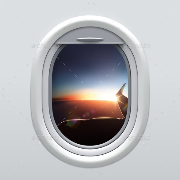View From Airplane Window To the Sky and Wing. - Man-made Objects Objects