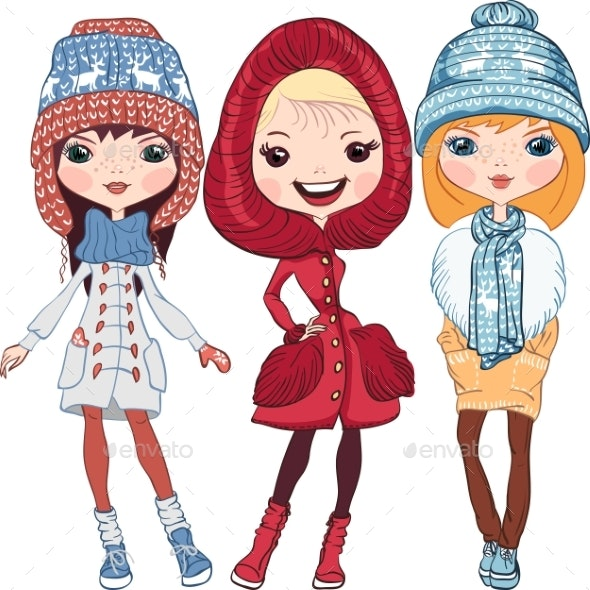 Vector Fashion Girls in Winter - Miscellaneous Vectors