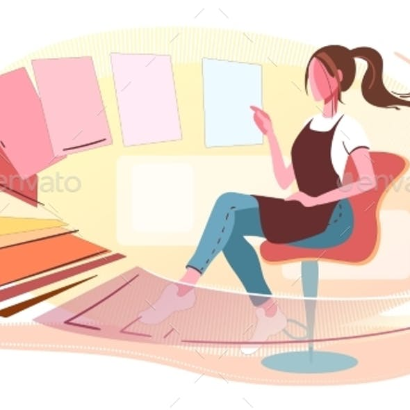 Woman Chooses Colors Modern Concept Illustration