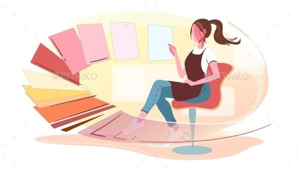 Woman Chooses Colors Modern Concept Illustration - Miscellaneous Vectors