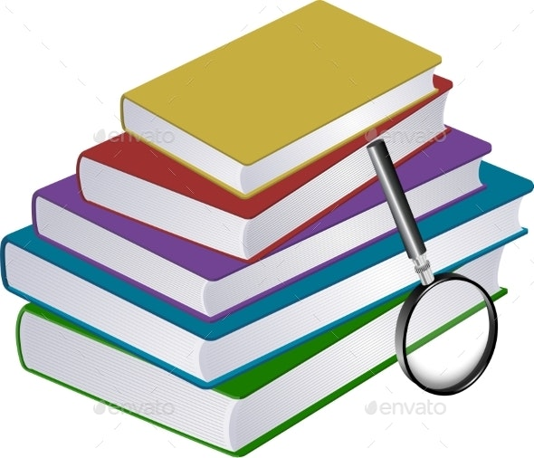 Illustration of Stack of Books with Magnifier - Backgrounds Decorative