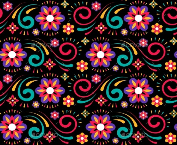 Abstract Flower Mexican Pattern for Textile Design - Flowers & Plants Nature