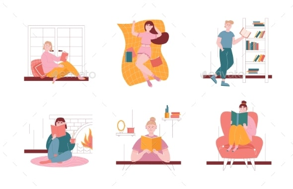 Man and Woman Characters Reading Books at Home and - Web Elements Vectors
