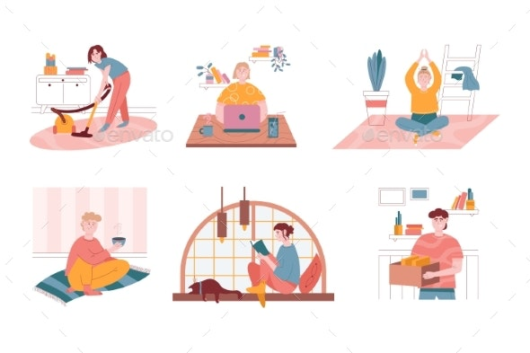 Vector Set of Daily Life Routine Situations. Woman - People Characters