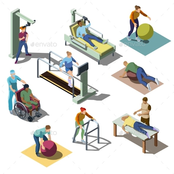 Rehabilitation Medical Center with Patients - Objects Vectors