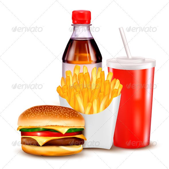 Hamburger and a bottle and drink
