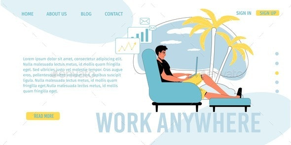 Work Anywhere Online Communication Landing Page - Business Conceptual