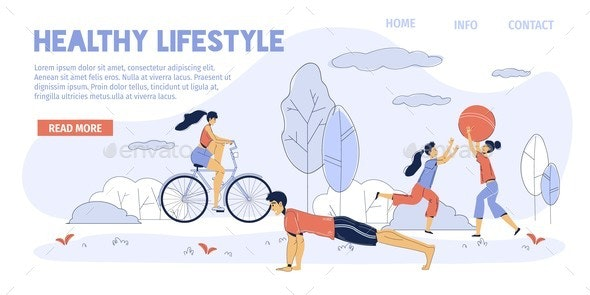 Healthy Family Lifestyle Motivation Landing Page - Sports/Activity Conceptual