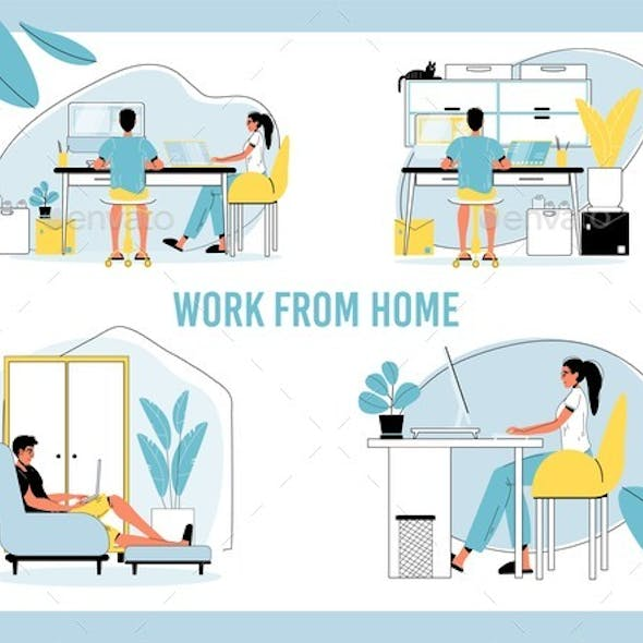 Man, Woman Freelancer Work Remotely From Home Set