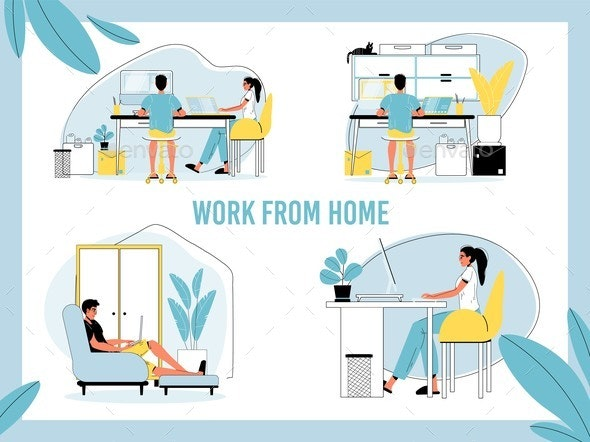 Man, Woman Freelancer Work Remotely From Home Set - Business Conceptual