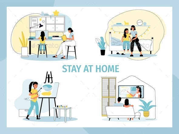 People Stay Home Social Motivation Poster Set - Objects Vectors