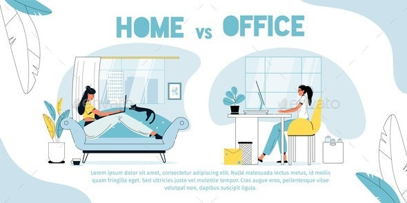 Home Vs Office, Employee Against Freelancer Poster - Business Conceptual