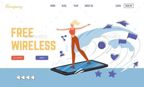 Wireless Free Wi-fi Public Hotspot Landing Page - Technology Conceptual