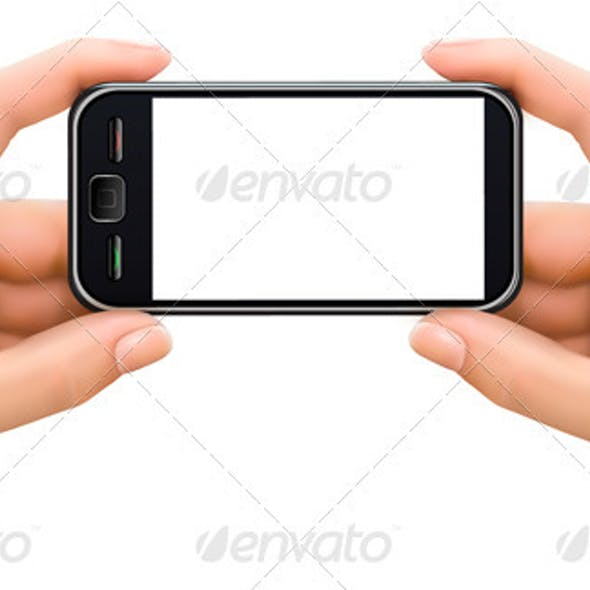 Two hands holding mobile smart phone