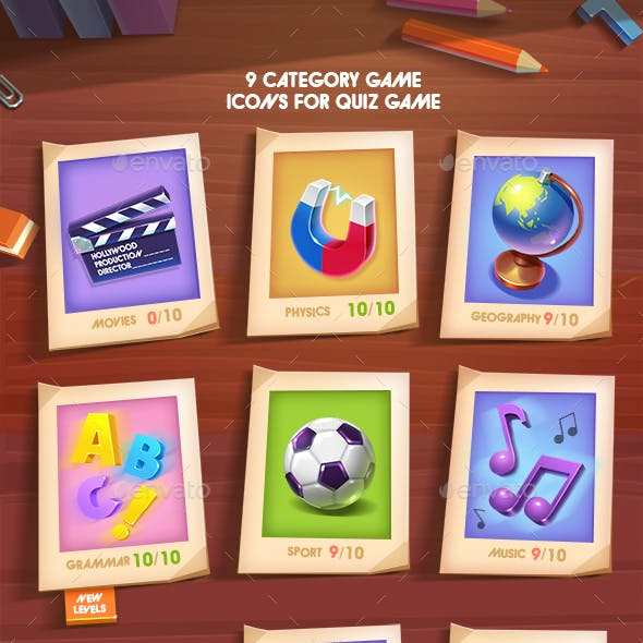 Quiz 9 Categories Game Icons